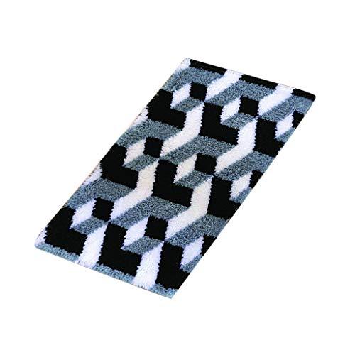 chiwanji Formteppich Knüpfteppich Knüpfset Knüpfpackung zum Selber Knüpfen Teppich für Kinder, Erwachsene oder Anfänger, Groß Latch Hook Rug 80x50 cm - Schwarzweiss-Streifen