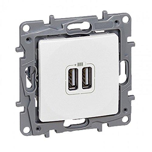 Legrand Niloe 764594 inbouw dual USB-aansluitingen stopcontact oplader elektrische plaat stopcontact wit met frame