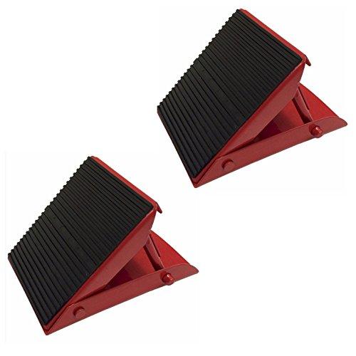 Lot de 2 cales de roue en métal pliables pour patins de frein Rouge