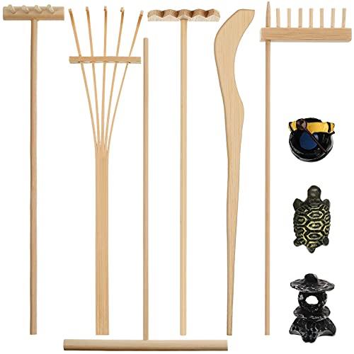 9 Piezas Herramientas de Rastrillo de Jardín Zen Mini Arenero de Jardín Zen Kit de Jardín Zen de Escritorio de Bambú Accesorios de Mini Jardín Zen con Figuritas para Padres Mediación