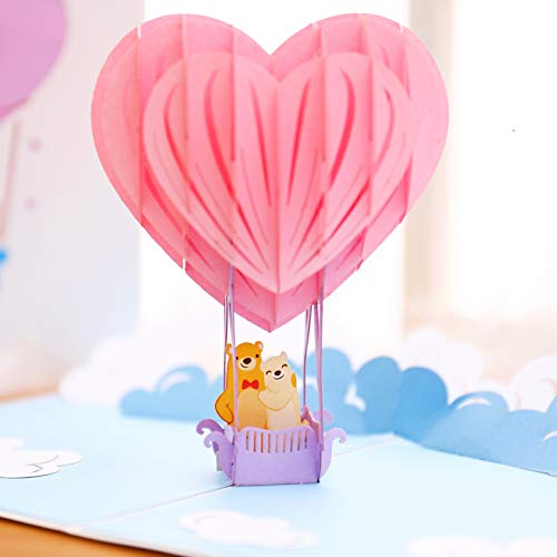 Liif Heart Balloon 3D Greeting Pop Up Valentines Day Card, Happy Valentines Card, Anniversary, Wedding, Engagement, Funny, Romance, Happy Birthday - For Kids, Wife, Women, Girlfriend, Daughter, Girl