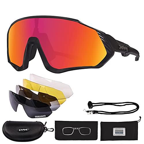 AONYIYI Gafas de Ciclismo Polarizadas Gafas de Bicicleta Fotocromáticas Hombre Mujere Gafas De Sol Deportivas 5 Lentes Intercambiables UV400 Montura TR90 Irrompible Con Marco de Miopía para Moto MTB