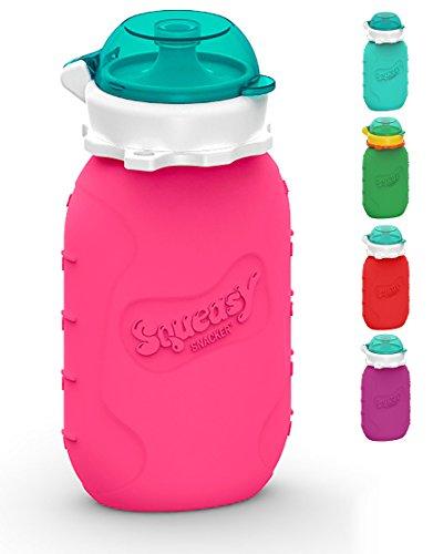 Squeasy Snacker, 180ml - Bolsa de Comida para Bebés Reutilizables | Para Batidos de Fruta Caseros, Yogurt y Zumos | Botella de Silicona, sin BPA (Pink)