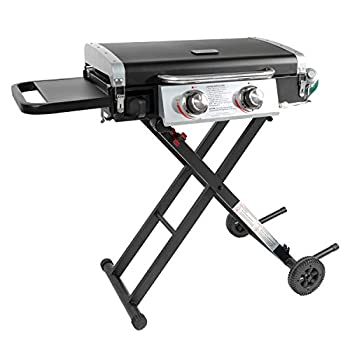 Razor Griddle GGC2030M 25 Inch Outdoor 2 Burner Portable LP Propane Gas Grill Griddle w/ Top Cover Lid Wheels and Shelf for BBQ Cooking Black  Steel