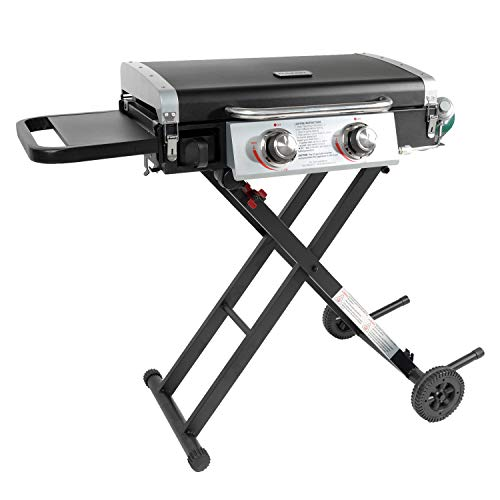 Razor Griddle GGC2030M 25 Inch Outdoor 2 Burner Portable LP Propane Gas Grill Griddle w/ Top Cover Lid, Wheels, and Shelf for BBQ Cooking, Black (Steel)