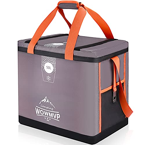 72-can Super Lager Cooler Bag, Waterproof & Leakproof Insulated Soft Sided Cooler Keep Cold & Warm up to 60 Hours, Portable Cooler Bag for BBQ, Beach, Camping, Car Travel, Shopping, Fishing(50L)