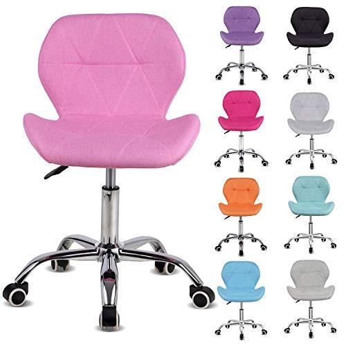Preisvergleich Produktbild GWFVA Bürostuhl,  Bürostuhl,  gepolstert,  höhenverstellbar durch Computer,  Möbel / Büromöbel (Rosa,  Stoff),  Fabric,  Pink