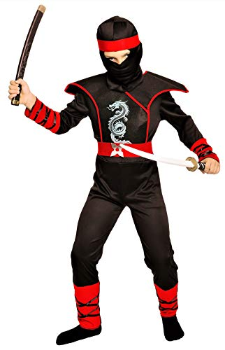 Magicoo Cobra Ninja Kostüm für Kinder Jungen Gr 110 bis 140 Schwarz/Rot - Fasching Kinder Ninja Kostüm für Kind (134/140)