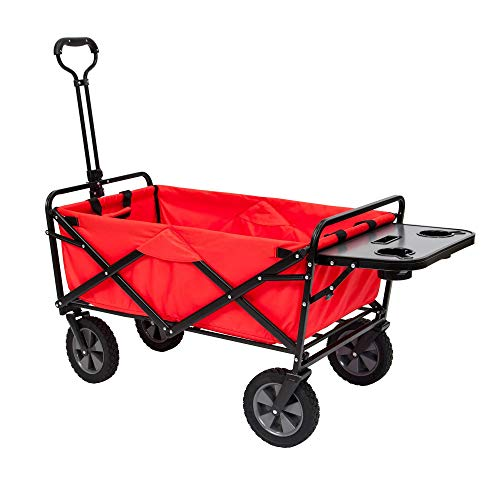 Mac Sports Collapsible Folding Outdoor Garden Utility Wagon Cart w/Table, Red