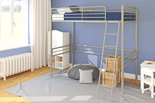 DHP Simple Metal Loft Bed Frame, Multifunctional, Twin Size, Gray