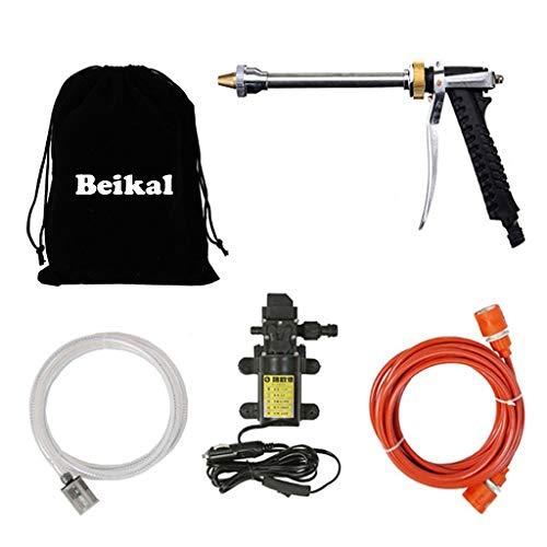 Beikalone - Bomba de Agua eléctrica para Coche, 12 V, 80 W, 9 Bares, 6 L/min, Alta presión, para descontaminación por riego de Lavado