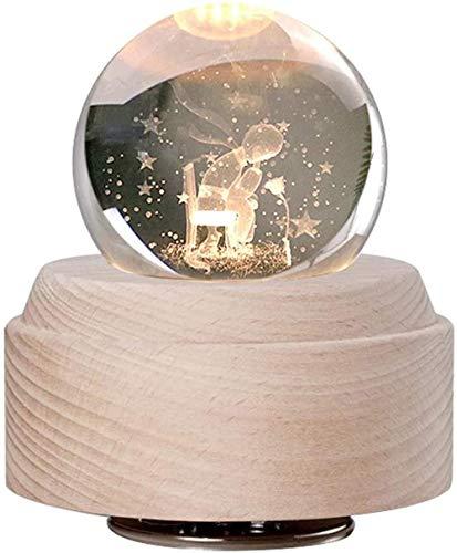 Caixa de música Little Prince Rose com bola de cristal 3D, caixa musical giratória luminosa com luz de LED, o melhor presente para aniversário, Natal, K_Natural Excelente