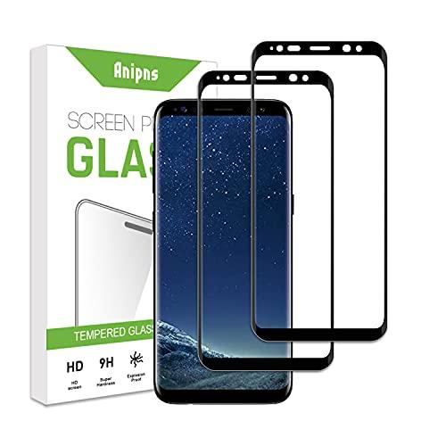 Anipns [3 Pezzi] Vetro Temperato, 3D Copertura Completa Pellicola,Protettiva per Samsung Galaxy S8 / S9,Durezza 9H, AntiGraffio, Senza Bolle,Anti-Impronte, per Samsung Galaxy S8