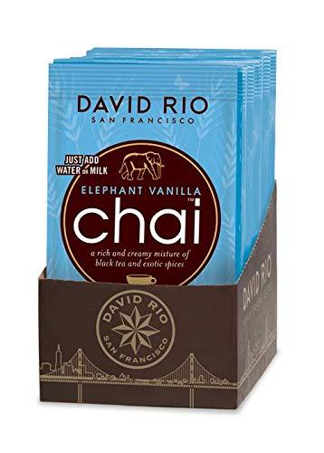 David Rio - Elephant Vanilla Chai | Chai Tee mit schwarzem Tee, Gewürzen und Vanillearoma | Display mit 12 Tassenportionen | 336g (12 x 28g)