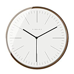 Findley Modern Wall Clock Silent Non-Ticking - 12 Inch Decorative Clock Wall Decor Battery Operated for Living Room, Home Office, School w Wood Frame Glass Cover