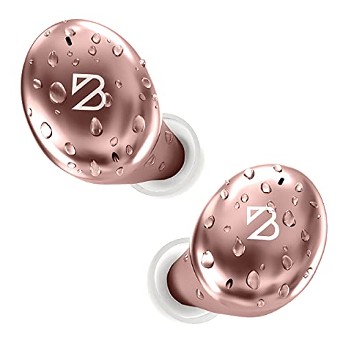 Tempo 30 Rose Gold Wireless Earbuds for Small Ears Women, Cute Pink Bluetooth Bass Boost Earphones Small Ear Canals, IPX7 Sweatproof, 32-Hour Long Battery, Loud Audifonos Bluetooth Inalambricos