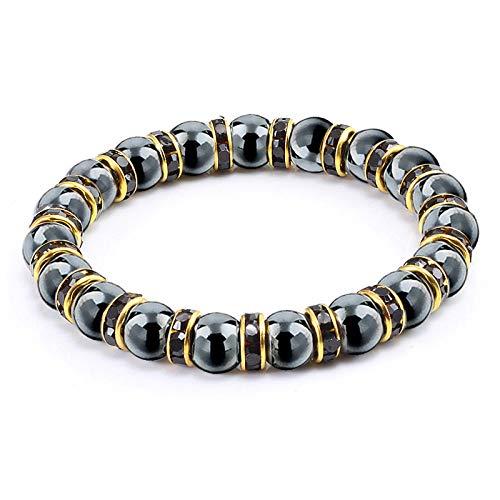 SKYROPNG Naturelles Pierres Bracelet,La Pierre D'Hématite Strass Black Diamond Perles Naturelles Jewery &Amp ; Perles Hip Hop Blance Bracelets Bijoux pour Homme Cadeaux Femmes