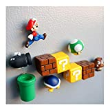 Labeol 10 Piece Super Mario Bros Action Figures,3D Fridge Message Sticker,Mini Super Mario Brothers Figures Bundle,Birthday Cake Topper for Kids Mario Toys
