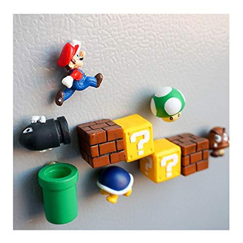 Labeol 10 Pcs Super Mario Kühlschrank Magnete 3D Dekorative Magnete Büro Magnete Whiteboard Magnete Nachricht Aufkleber Erwachsene Mädchen Junge Kinder Spielzeug Geburtstag Geschenk