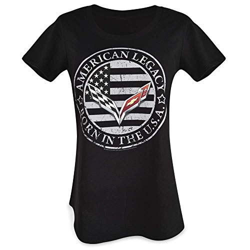 C7 Corvette Born in The USA American Legacy Ladie's T-Shirt : Black (Medium)