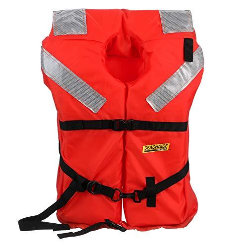SEACHOICE 85930 Type I Commercial Offshore Jacket - Fluorescent Orange, Reflective Panels, Adult - up to 90 Pounds, One Size