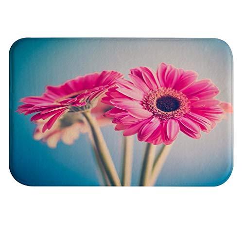 A.Monamour Vintage Flores De Color Rosa Fondo Floral Naturaleza Arte Decoraciones Franela Absorbente Alfombras De Baño Antideslizantes Alfombras Alfombras De Piso Alfombra De Interior 40X60 Cm