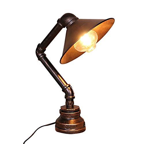 WEUN Lámpara de Mesa de Tubo de Agua, lámpara de Mesa de Hierro Oxidado Industrial, lámpara de Escritorio de Metal Steampunk Antigua, Accesorio de iluminación para cabecera