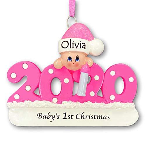 Knextion Inc Personalized Baby's First Christmas Ornament 2020 - Pink Girl