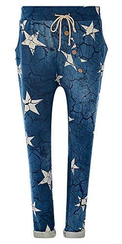 Eitex Damen Jogginghose Sweatpants mit Sternen Anker Camouflage und Uni Farben (40/42, Star blau)