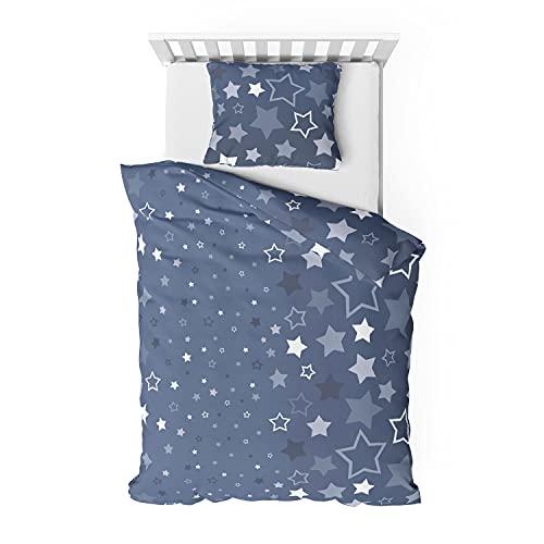 Träumschön Biber-Bettwäsche Set 135x200 2tlg. mit 80x80 cm Kissenbezug   Fein-Biber Bettwäsche aus 100{004ca90c3245b2fc9c3fe37889262cff0cd6679c6d7cbaacf41027525e16e681} Baumwolle   Dessin Sterne dunkelblau