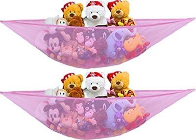 2 PK - SimpleHouseware Stuffed Animals Jumbo Toy Storage Hammock, Pink