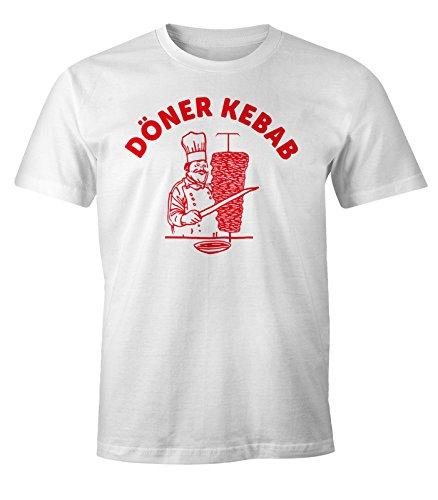 MoonWorks Döner Shirt Herren Kebab Dönerspieß Fun T-Shirt weiß XL