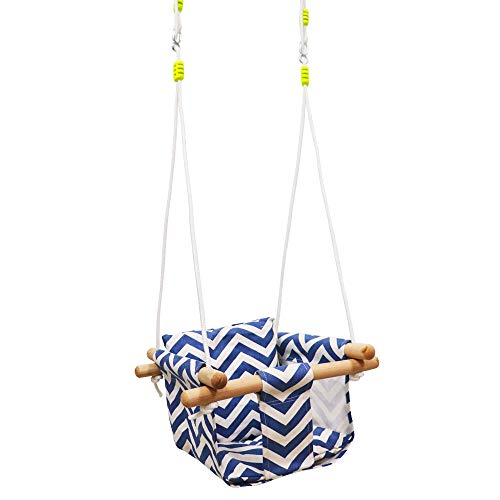 HNHM Baby Kids Canvas Hanging Swing with Soft Cotton...