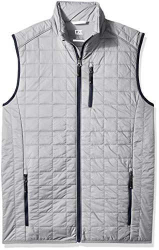 Cutter & Buck Men's Weather Resistant Primaloft Down Alternative Rainier Vest, Polished, Large
