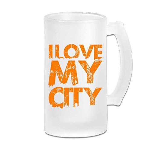 tangdouou I Love My City Boccale di Birra Stein in Vetro Smerigliato 16 OZ