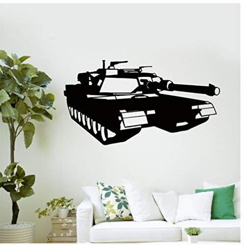MUXIAND Wall Stickers, Militaire tank oorlog spel Aangepaste naam PVC Home Decor muur Vinyl Kwekerij Room Interieur Lettering Art Room DIY Verjaardagscadeau Reizen Living85x45cm