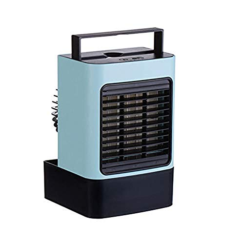 USB Cooling Fan, Built-in Ice Box, Night Light, Mini Desktop Air koeler fan, Kleine Koeling Fan voor kantoor aan huis slaapkamer,Blue
