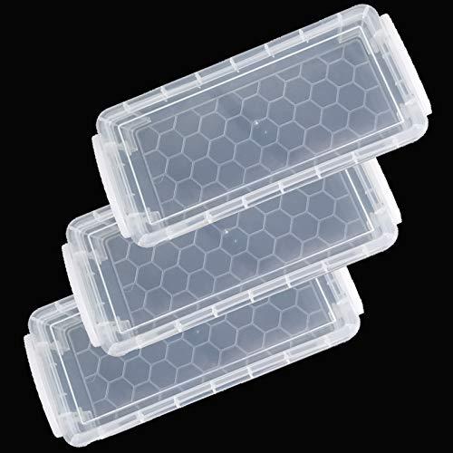 3 Stück Bleistift-Aufbewahrungsbox mit Deckel, Transparente Federmäppchen, Stapelbare Durchsichtige Stiftebox, Aufbewahrungsbox für Büromaterial, Pinsel, Aquarellstifte