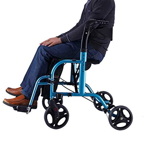 YC Silla de Ruedas Convertible Rollator Walker, Bandeja y Bolsa para Bastones de Mano - Ayuda de Movilidad para Adultos, Ancianos y discapacitados - Ayuda de Movilidad para Adultos