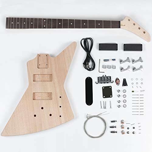 Leo Jaymz DIY Electric Bass Guitar Kits - Mahogany Body, Maple Neck and Rosewood Fingerboard - Fully Components Included (AX)