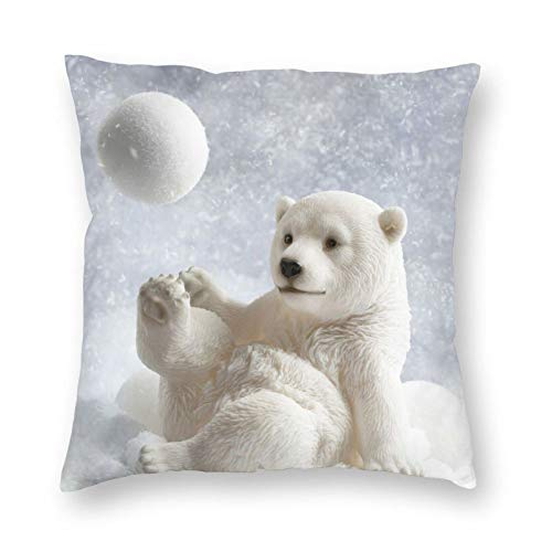 Nixboser Funda de almohada de poliéster con diseño de oso polar que juega a la bola de nieve, para decoración del hogar, sofá, sala de estar, cama, coche, tamaño de 40,6 x 40,6 cm