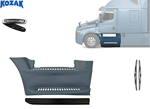 Kozak Front Fairing Step Panel with Stripe Left Side Only (Driver Side) For Freightliner Cascadia 2017+ PLUS Freightliner Logo and 2x22' Windshield Wipers
