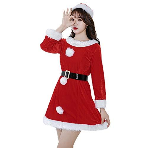 AMUSTER Damen Minikleid Frauen Weihnachtskleid Weihnachten Print Langarm Minikleid Rundhals Kleider Samt Weihnachtskostüme Kleid Stage Suit