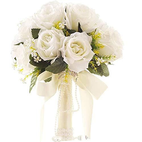 Flor De Rosa Falsa Artificial, Ramo De Novia Bouquets De Boda con Flores con Diamantes De Imitación para La Boda/De Tiro De La Decoración del Hogar del Partido De Tiro (Color : Blanco)