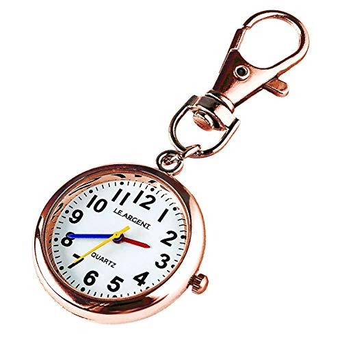 LE ARGENT (ル アルジャン) 懐中時計 ナースウォッチ 時計 キーホルダー かいちゅう時計 【日本製クオーツ 日本製電池】 (ピンクゴールド)
