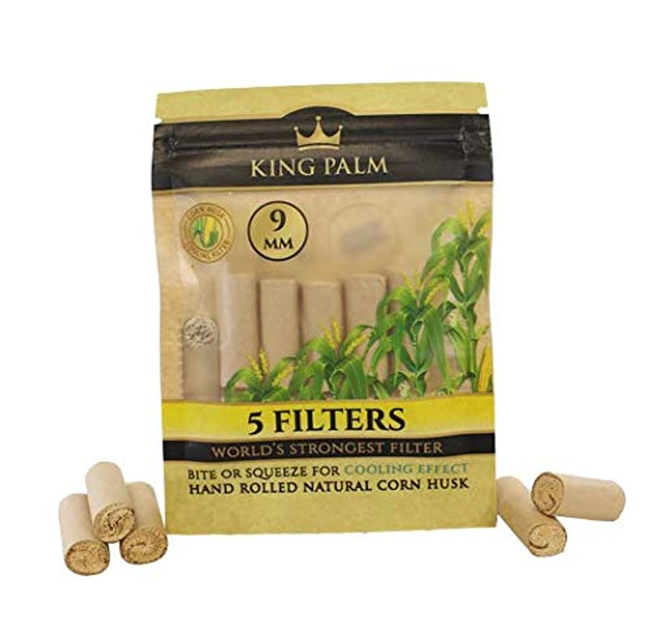 King Palms Hand Rolled Corn Husk Filters - 9mm - 5 Filters/Pack - (1 Pack)