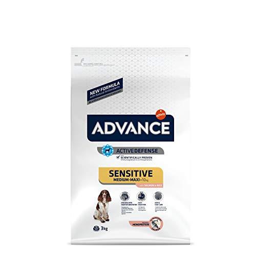 ADVANCE Sensitive Medium-Maxi - Croquettes pour Chien Medium-Maxi Adult pour Sensibilités Digestives et Cutanées avec Saumon et Riz - 3Kg