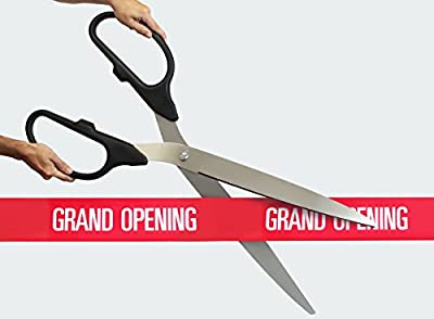 "36"" Silver Ceremonial Ribbon Cutting Scissors for Grand Openings"