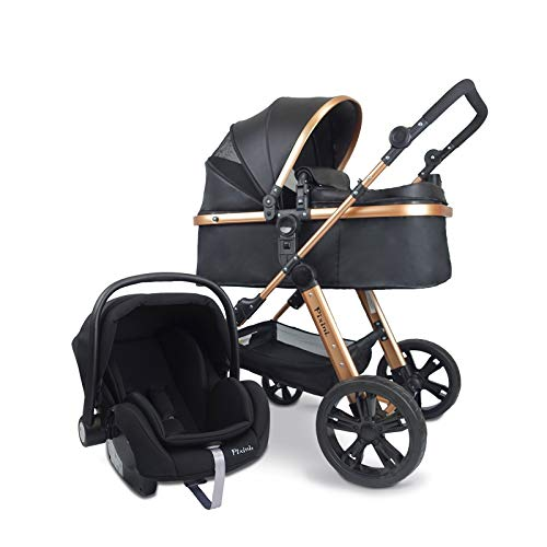 Pixini 3in1 Trio Kinderwagen Set (Arizona Luxe Schwarz/Gold) mit Kunstledergriff