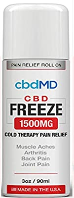 1500 mg Hemp Organic Freeze ROLL ON Pain Stress Relief Cold Topical Therapy Vegan Aches Inflammation Soreness USA Grown Gluten Free Non GMO Skin Immune Support Hydration Inflammation from CBDMD